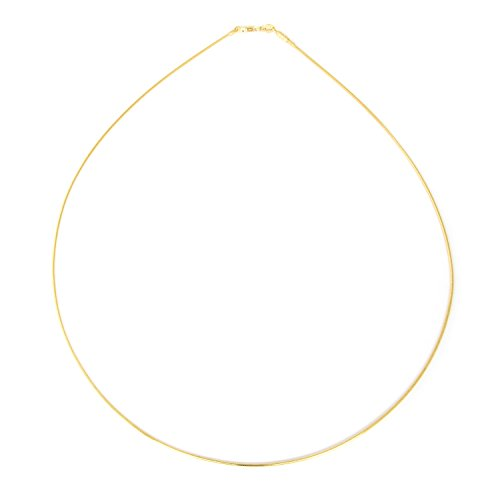 1mm thick 14k gold plated solid sterling silver 925 Italian Omega chain necklace spring ring clasp - inch 12