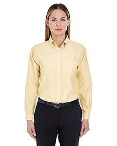(ULTRACLUB 8990 Ladies' Classic Wrinkle-Free Long-Sleeve Oxford - X-Large - Butter)