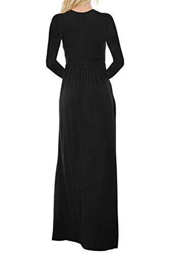 Black Pocket Lovezesent Dress Down Long Maxi Long Sleeve Plain Button Women Loose with U7Zx1AU