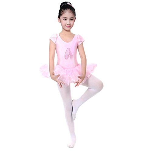 - G-real Toddler Baby Girl Solid Ballet Gauze Leotards Dancewear Short Sleeve Tulle Dance Dress for 2-6T (Pink, 3T)