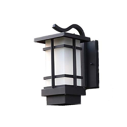 Wylolik American Retro Barn Wall Lamp Outdoor Waterproof Steel Rectangular Frame With Frosted Glass Lantern Oil Rubbing Bronze Finish Wall Light Front Porch Exterior Light E26/E27 Wall Sconce One-ligh