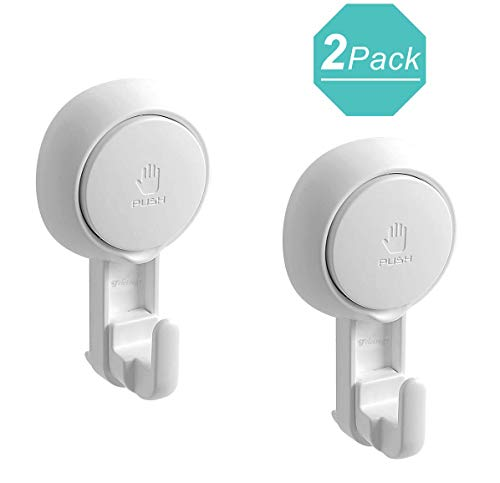 Teletrogy Suction Hooks Vacuum Suction Cup Hooks for Shower Powerful Shower Hooks Suction Wall Hooks for Tiled Walls Bathroom Hooks for Towels Chrome Loofah Robe -Utility Hooks 2 Pack