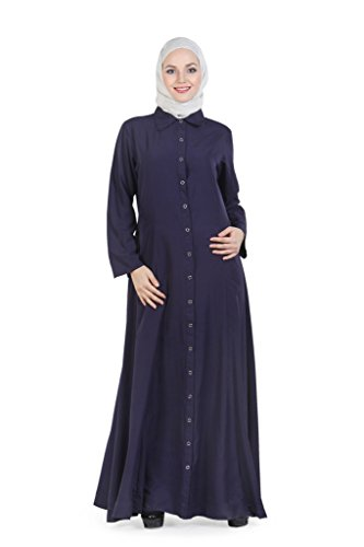 Momin Libas Full Front Button Open Navy Blue Muslim Burqa Abaya