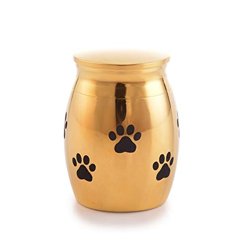 (Sunling Paws Footprints Engraved Small Stainless Steel Decorative Memorial Keepsake Cremation Urns Jar for Human Pet Ashes Funeral Bottle Holder for Dag,Cat,Family,18k Gold,Waterproof)