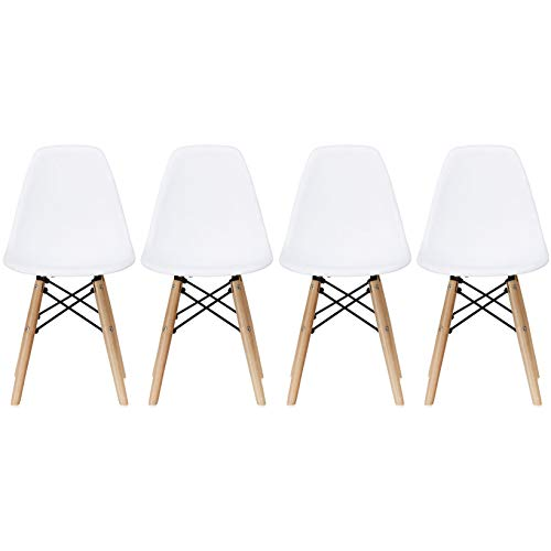 2xhome - Set of Four (4) - White - Kids Size Side Chairs White Seat Natural Wood Wooden Legs Eiffel Childrens Room Chairs No Arm Arms Armless Molded Plastic Seat Dowel Leg