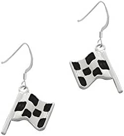 Checkered Race Flag French Earrings
