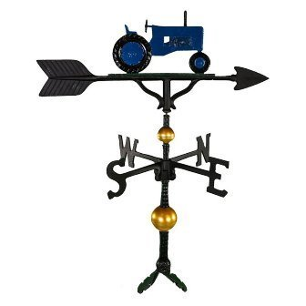 Montague Metal Products 32-Inch Deluxe Weathervane with Blue Tractor - Weathervane Arrow Blue