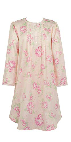 Miss Elaine Short Satin Gowns - Brushed Back Round Neck Gown in Pink Roses (Pink Floral, Large) ()