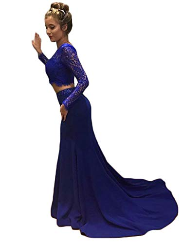 a887fd79050 ... Long Sleeve Lace 2019 Mermaid Royal Blue Evening Formal Ball Gowns.   