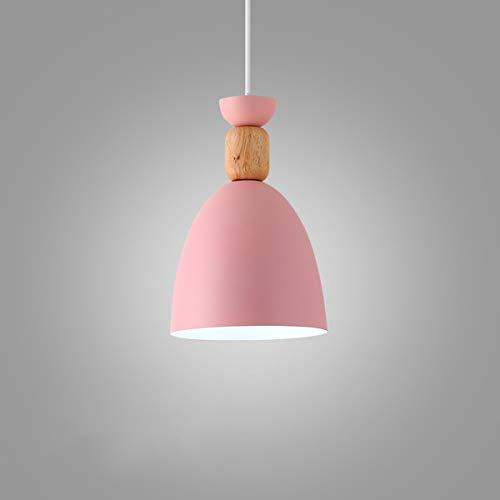 NANGE Macaron Chandelier, Wood Metal Suction Cups Pendant Lighting,Restaurant Home Dining Table Hanging Lamp,E27,110-220V(Without Light Source) (Color : Pink, Size : AC 220V) by NANGE (Image #4)