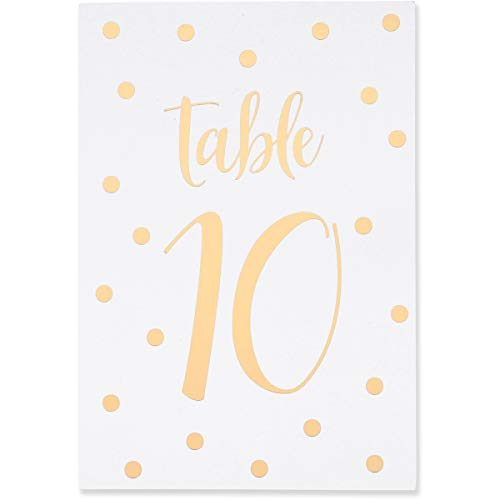 Sweetzer & Orange Gold Table Numbers for Wedding 1 to 25 Polka Dot Table Number Cards for Weddings, Bar Mitzvah, Quinceanera Decorations, Restaurant and More! Premium Paper Table Numbers (Places To Have A Bat Mitzvah Party)