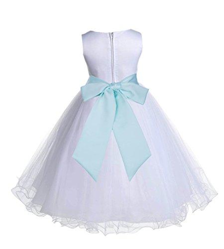 ekidsbridal Wedding Pageant White Flower Girl Rattail Edge Tulle Dress 829s (6, Mint) Green Flower Dress