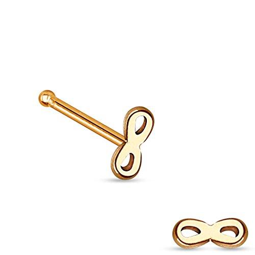 """Piercing nez infinity top en acier chirurgical 316LTaille: 20GA (0.8mm)1/4""""(6mm) Couleur: Rose Doré"""