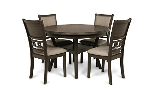 New Classic Gia Round 5 Piece Dining Set, Gray (Dining Room Chair Round)