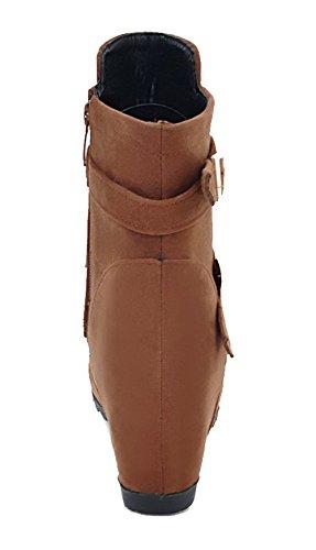Ageemi Brun Femme Shoes Bas Talon Couleur À Suede Zip Bottes Unie Rond Haut qqO5wA7xr