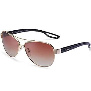 Aviator Sunglasses - Carfia Polarized Sunglasses for Men and Women, Metal Frame & UV400 Protection (Matte Gold Gradient Brown, Multicoloured)