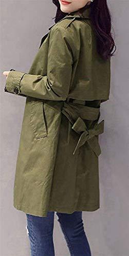 Escudo Solapa Chaqueta Abrigo Cinturón Otoño Primavera Slim Sólido Color Moda Larga De Battercake Fit Grün Prendas Elegante Manga Trench Ocio Mujer Con waO6ZXqU