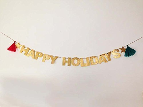 Happy Holidays Glitter Banner - Holiday Decoration Holiday Photo Prop, Happy New Year, Happy Hanukka, Merry (Hanukkah Holiday Photo)