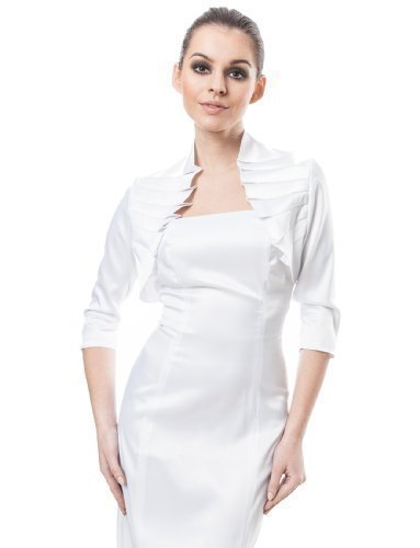 - OssaFashion Womens Evening Party Ruffle Satin Bolero Cocktail Jacket Three Quarter Sleeve Shrug White