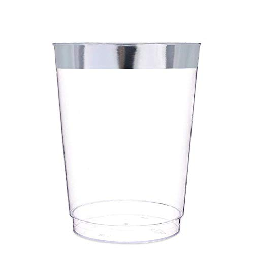 - Tomnk 60 pack 10 Oz Disposable Wedding Party Hard Plastic Cups, Tumblers With Silver Rim