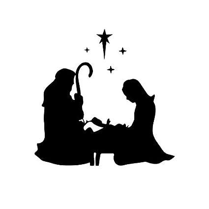 Christmas Vinyl Decals For Glass Blocks.Amazon Com Aihesui Nativity Scene Mary Joseph Kneeling