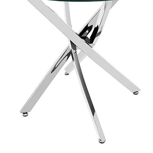 King Contemporary Stainless Steel Bistro Dining Table with Tempered Glass Top, Black by Christopher Knight Home (Image #8)