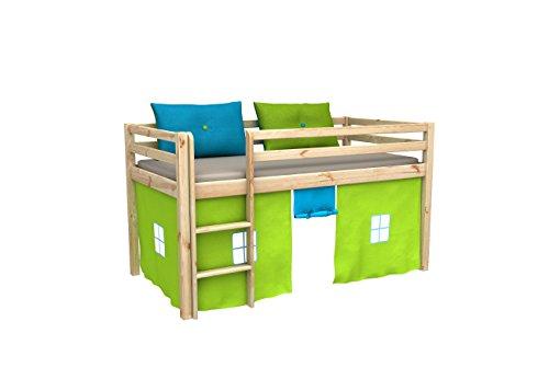 Cama de juego,cama para ninos,de alta,cama con cortinas,colchon,somier,blanco,muchos colores