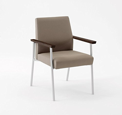 Lesro Mystic Guest Chair with Walnut Wood Armrests, White Frame, Core Burst Fabric