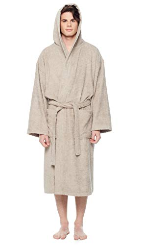 Arus Men's Hooded Classic Bathrobe Turkish Cotton Robe with Full Length Options -