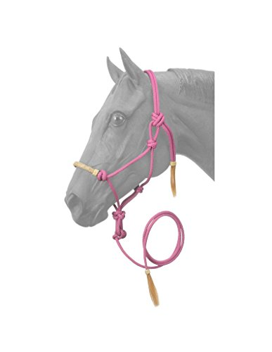 Tough 1 Rawhide Noseband Rope Halter with Lead, Pink, Horse