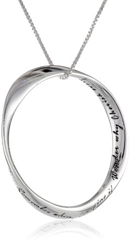 "Sterling Silver ""Dance, Sing, Love, Cry, Remember When, Imagine It. Wonder Why, Cherish Every Moment"" Circle Pendant Necklace , 18"""