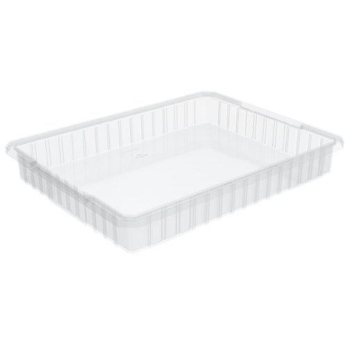 Akro-Mils 33223 22-1/2-InchL by 17-3/8-Inch W by 3-Inch H Akro-Grid Slotted Divider Plastic Tote Box, Clear, 6-Pack