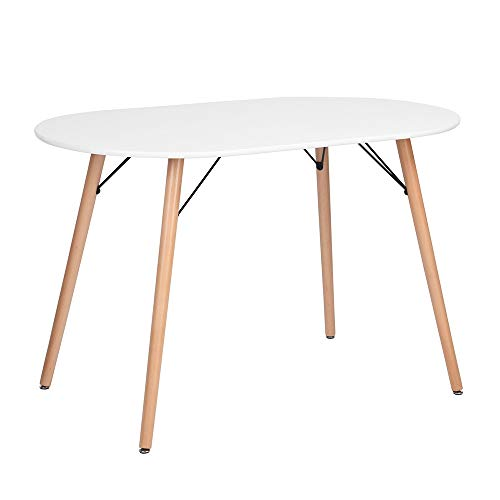 (FurnitureR Kitchen Dining Table Modern Table Desk for Dining Room Kitchen Breakfast Nook-White)
