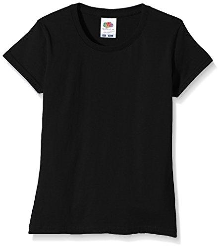 Fruit of the Loom Mädchen T-Shirt Ss125b, Schwarz,