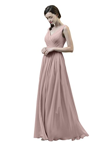 Alicepub V-Neck Chiffon Bridesmaid Dress Long Party Prom Evening Dress Sleeveless, Silver Pink, US14