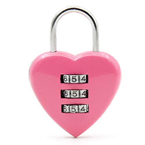 GAOPIN Padlock Cute Resetable Combination Padlock Heart Shaped Locking Tools 3 Digits Security Small Suitcase Padlock 3 Color,Pink