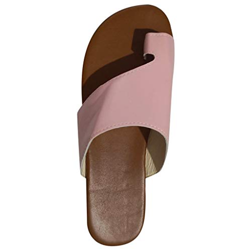 - Summer Sandals,Womens Comfy Flats Wedges Shoes Lightweight Breathable Outdoor Open Toe Beach Roman Slippers Sandals Shoes (Pink, US:7)