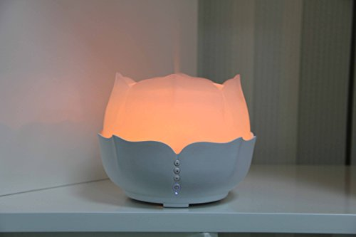 LOTUS 250 ml High Capacity Cool Mist Humidifier / Essential oils Diffuser for Aromatherapy, Chromotherapy with Color-changing Light and Music Therapy with Nature Sounds included