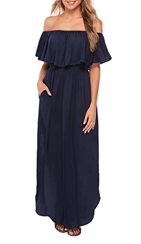 (OYANUS Womens Off The Shoulder Ruffles Pockets Dress Side Split Maxi Dresses Navy XL)