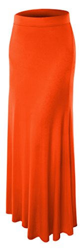 Womens Plue Size Floor Lengh Maxi Skirt 4X-Large Orange