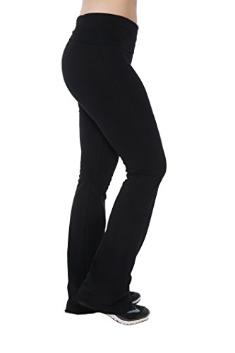 Long Boots (Cotton Stretchy Extra Long Active Pants Fold Over Waistband Flared Boot Leg Running Yoga Pants, Black, Large)