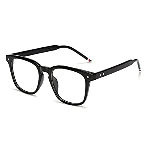 J&L Glasses Vintage Classic Full Frame Wood Grain Unisex Glasses Frame (Black, Clear)