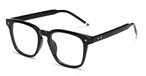 J&L Glasses Vintage Classic Full Frame Wood Grain Unisex Glasses Frame (Black, - Frames Mens
