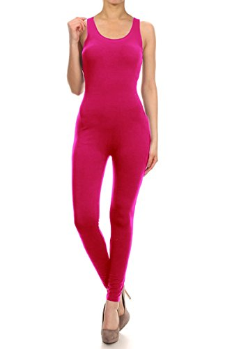 100% Cotton Jumpsuit Solid JSS Made in USA (L, HOT PINK)