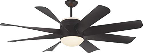 Monte Carlo 8TNR56BKD-V1 Turbine Ultra-Modern 56 Ceiling Fan with LED Light and Hand Remote Control, 8 ABS Blades, Matte Black