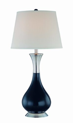(Lite Source LS-21426BLK/WHT Miakoda Table Lamp, Polished Steel And Black Glass with White Fabric)