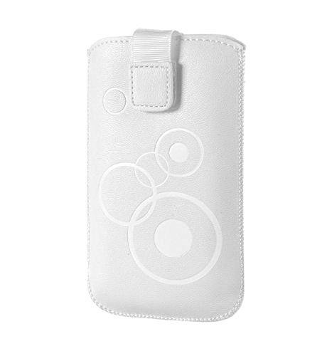 Handytasche Circle weiß geeignet u.a für Apple Iphone 7, Sony Xperia X Compact, Samsung Galaxy J1 (2016), Huawei Y3 II LTE, Huawei Y5 Handy Tasche Schutz Hülle Slim Case Cover Etui mit Klettverschluss