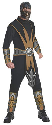 Mortal Kombat Adult Scorpion Costume And Mask, Gold/Black, Large