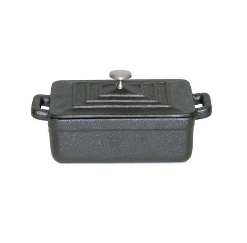 Paderno World Cuisine 0.375-Quart Rectangular Cast-Iron Casserole, Black