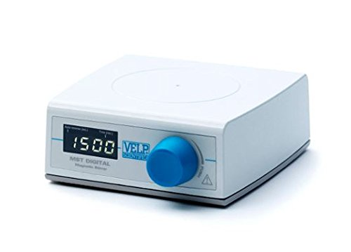 Reaction Timer - VELP Scientific F203A0450 MST Digital Magnetic Stirrer, 5 L Stirring Volume, Up to 1500 rpm, Counter Reaction, Auto Reverse, Timer, Digital Display, White Surface for Titrations-100-240V/50-60 Hz